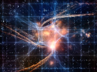Math Universe series. Background design of digits and elements of space on the subject of mathematics, science, education and modern technology