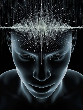 Mind Waves series. Visually attractive backdrop made of 3D illustration of human head and technology symbols suitable in layouts on consciousness, brain, intellect and artificial intelligence