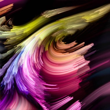Color Flow series. Background composition of  streams of digital paint on the subject of music, creativity, imagination, art and design