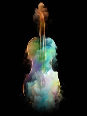 Music Dream series. Backdrop composed of violin and abstract colorful paint and suitable for use in the projects on musical instruments, melody, sound, performance arts and creativity