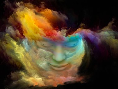 Mind Fog series. Interplay of 3D rendering of human face morphed with fractal paint on the subject of inner world, dreams, emotions, imagination and creative mind