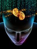 Elemente der Gedankenserie. 3D-Illustration des menschlichen Kopfes und der Symbole der Technik zum Thema Wissenschaft, Bildung und Geisteskraft
