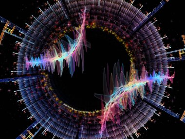 Wave Function series. Creative arrangement of colored sine vibrations, light and fractal elements for subject of sound equalizer, music spectrum and  quantum probability