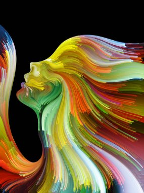 Face of Color series. Background design of human profile and colorful lines of moving paint on the subject of creativity, design, internal world, human nature and artistic soul