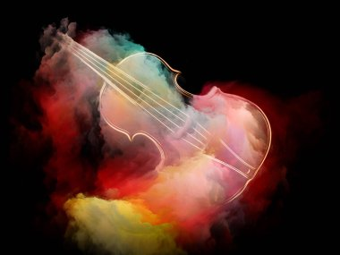 Music Dream series. Abstract design made of violin and abstract colorful paint on the subject of musical instruments, melody, sound, performance arts and creativity