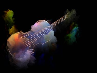 Music Dream series. Composition of violin and abstract colorful paint with metaphorical relationship to musical instruments, melody, sound, performance arts and creativity