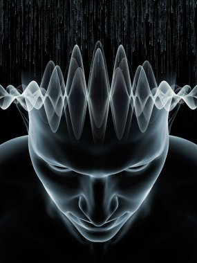 Mind Waves series. Interplay of 3D illustration of human head and technology symbols on the subject of consciousness, brain, intellect and artificial intelligence