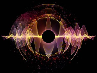 Wave Function series. Graphic composition of colored sine vibrations, light and fractal elements  for subject of sound equalizer, music spectrum and  quantum probability