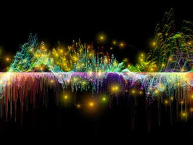 Wave Function series. Abstract design made of colored sine vibrations, light and fractal elements on the subject of sound equalizer, music spectrum and  quantum probability