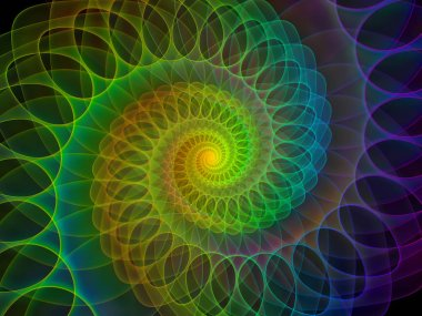 Spiral Geometry series. Arrangement of spinning vortex of fractal elements on the subject of mathematics, geometry and science