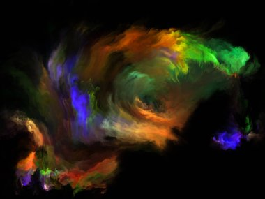 Color Flow series. Background design of streams of digital paint on the subject of music, creativity, imagination, art and design