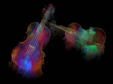 Music Dream series. Two violins and abstract colorful paint as a concept metaphor on subject of musical instruments, melody, sound, performance arts and creativity