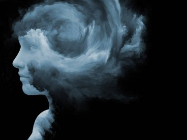 Mind Fog series. 3D rendering of human face morphed with fractal paint as a metaphor on the subject of inner world, dreams, emotions, creativity, imagination and human mind