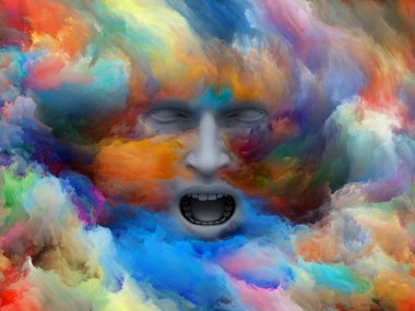 Mind Fog series. 3D illustration made of human head morphed with fractal paint for use with projects on inner world, dreams, emotions, creativity, imagination and human mind