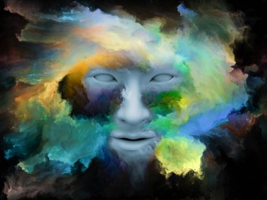 Mind Fog series. 3D illustration made of human face morphed with fractal paint for use with projects on inner world, dreams, emotions, creativity, imagination and human mind