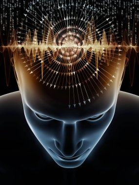 Mind Waves series. Creative arrangement of 3D illustration of human head and technology symbols for subject of consciousness, brain, intellect and artificial intelligence