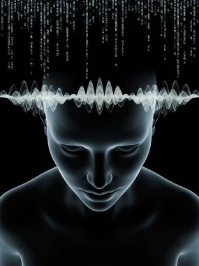 Mind Waves series. Arrangement of 3D illustration of human head and technology symbols on the subject of consciousness, brain, intellect and artificial intelligence