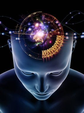 Mind Waves series. Backdrop of 3D illustration of human head and technology symbols on the subject of consciousness, brain, intellect and artificial intelligence