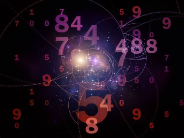 Math of Reality series. Background design of numbers, lights and fractal patterns on the subject of mathematics, education and science