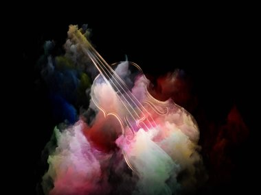 Music Dream series. Creative arrangement of violin and abstract colorful paint as a concept metaphor on subject of musical instruments, melody, sound, performance arts and creativity