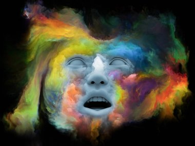 Mind Fog series. 3D rendering made of human face morphed with fractal paint on the subject of inner world, dreams, emotions, creativity, imagination and human mind