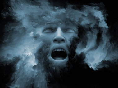 Mind Fog series. 3D illustrtion of human face morphed with fractal paint with metaphorical relationship to inner world, dreams, emotions, creativity, imagination and human mind
