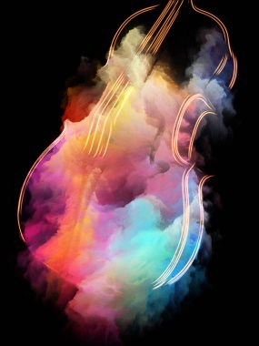 Music Dream series. Abstract arrangement of violin and abstract colorful paint suitable for projects on musical instruments, melody, sound, performance arts and creativity