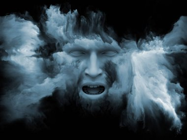 Mind Fog series. 3D rendering of human face morphed with fractal paint as a concept metaphor on subject of inner world, dreams, emotions, creativity, imagination and human mind