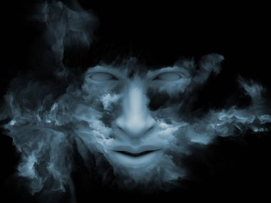 Mind Fog series. 3D illustration of  human face morphed with fractal paint for projects on inner world, dreams, emotions, creativity, imagination and human mind stock vector