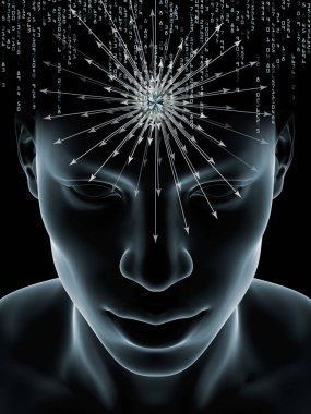 Mind Waves series. Composition of 3D illustration of human head and technology symbols on the subject of consciousness, brain, intellect and artificial intelligence