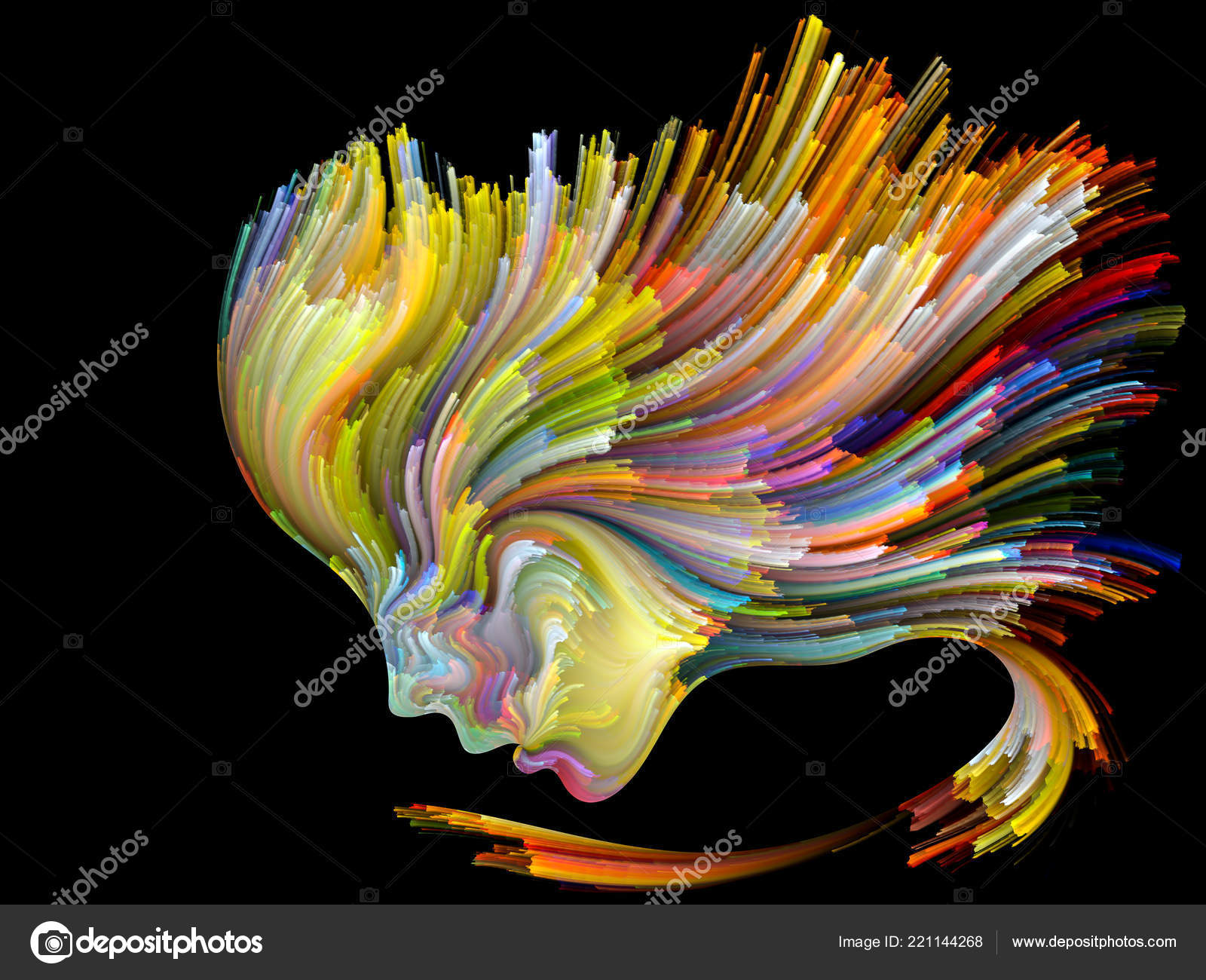 Face Color Series Abstract Arrangement Human Profile