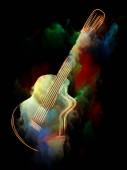 Serie di sogno della musica. Visivamente piacevole composizione di vernice variopinta chitarra ed astratti per opere su strumenti musicali, melodia, suono, performance arti e creatività