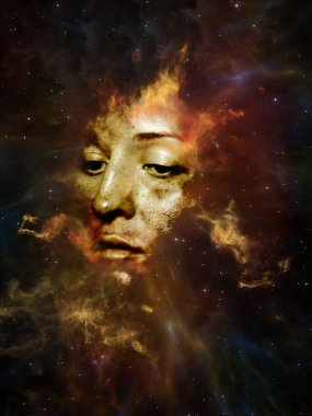 Will Universe Remember Us series. Design composed of woman's face, nebula and stars as a metaphor on the subject of Universe, Nature, human mind and imagination