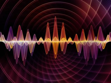 Wave Function series. Composition of colored sine vibrations, light and fractal elements with metaphorical relationship to sound equalizer, music spectrum and  quantum probability