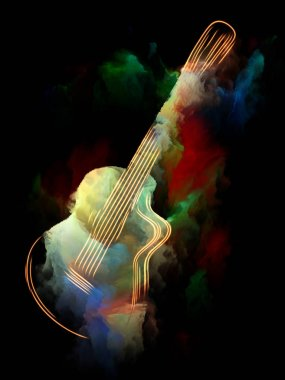 Music Dream series. Visually pleasing composition of guitar and abstract colorful paint for works on musical instruments, melody, sound, performance arts and creativity