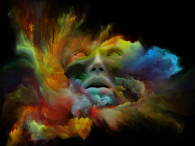 Mind Fog series. Abstract design made of 3D rendering of human face morphed with fractal paint on the subject of inner world, dreams, emotions, imagination and creative mind
