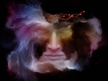 Mind Fog series. 3D illustration composed of human face morphed with fractal paint on the subject of inner world, dreams, emotions, creativity, imagination and human mind