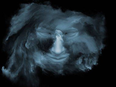 Mind Fog series. 3D illustration of human face morphed with fractal paint for works on inner world, dreams, emotions, creativity, imagination and human mind