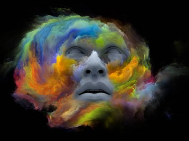 Mind Fog series. 3D illustration of  human face morphed with fractal paint for projects on inner world, dreams, emotions, creativity, imagination and human mind