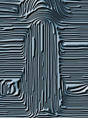 Curves of Nature series. Abstract design made of 3D rendering of blue embossed bas relief pattern on the subject of geometry  of natural forms, Art Nouveau, design and decoration