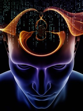 Mind Waves series. Background design of 3D illustration of human head and technology symbols on the subject of consciousness, brain, intellect and artificial intelligence