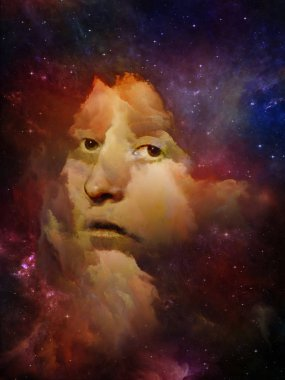 Will Universe Remember Us series. Abstract composition of woman's face, nebula and stars suitable in projects related to Universe, Nature, human mind and imagination