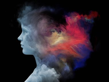 Mind Fog series. 3D rendering of human head morphed with fractal paint on the subject of inner world, dreams, emotions, creativity, imagination and human mind