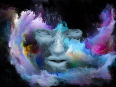Mind Fog series.3D rendering of human face morphed with fractal paint on the subject of inner world, dreams, emotions, creativity, imagination and human mind