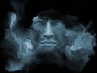 Mind Fog series. 3D illustration made of human face morphed with fractal paint to serve as backdrop for projects related to inner world, dreams, emotions, creativity, imagination and human mind