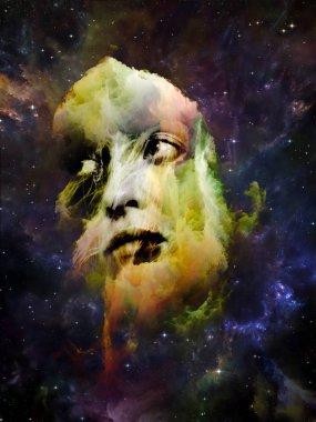 """Картина, постер, плакат, фотообои """"моя серия """"женщина-ангел-демон"""". портрет молодой женщины с сюрреалистическими элементами на тему женской природы, внутреннего мира и человеческой драмы . постеры картины модульные фотографии графика"""", артикул 225063294"""