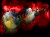 Fotografia Serie di sogno della musica. Disegno astratto di violino ed astratti vernice variopinta per opere su strumenti musicali, melodia, suono, performance arti e creatività