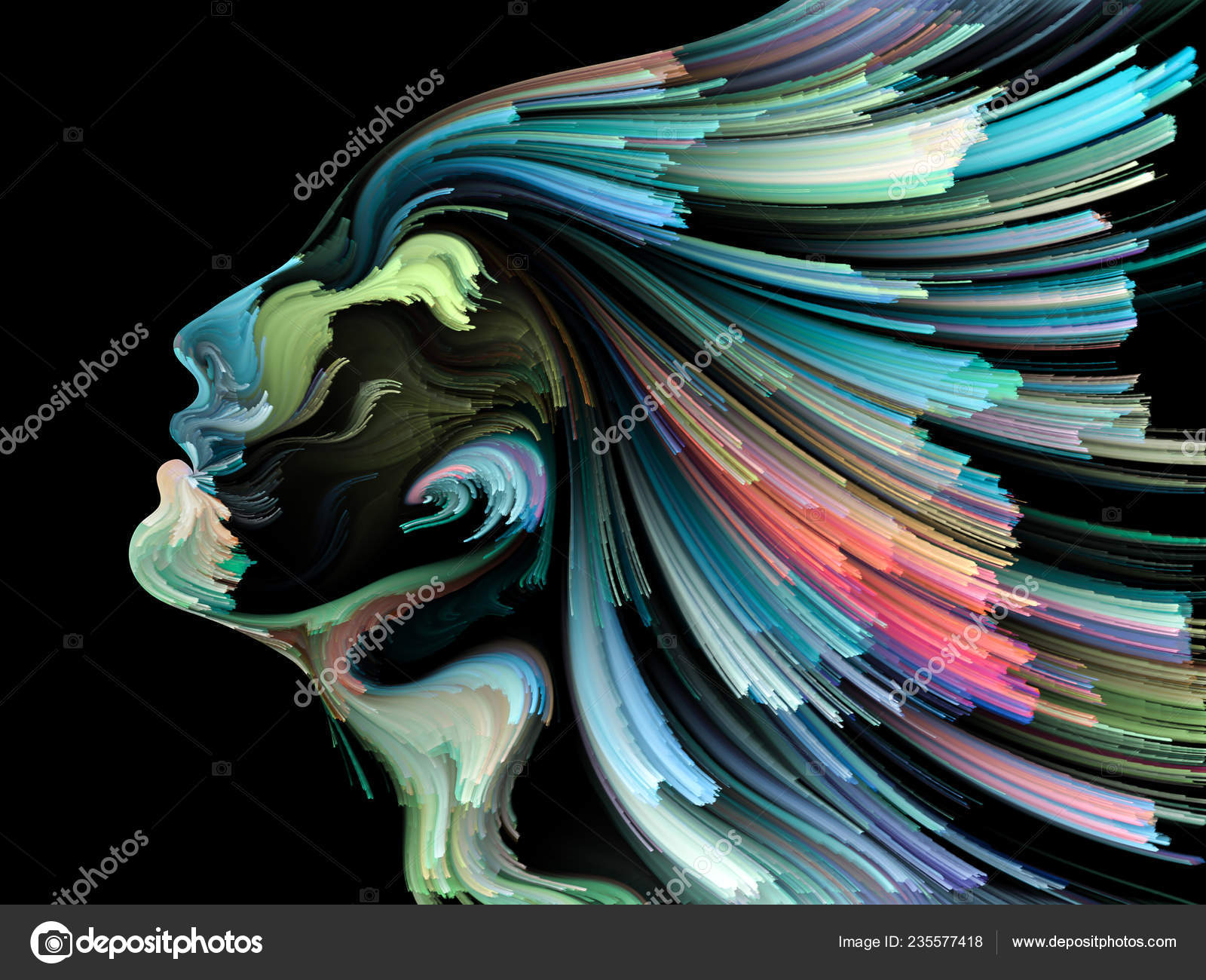 Face Color Series Abstract Background Made Human Profile