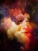 Bude vesmír pamatovat nás série. Abstraktní design z ženská tvář, mlhoviny a hvězdy na téma vesmír, příroda, lidské mysli a představivosti