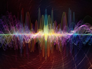 Wave Function series. Composition of colored sine vibrations, light and fractal elements suitable as a backdrop for the projects on sound equalizer, music spectrum and  quantum probability